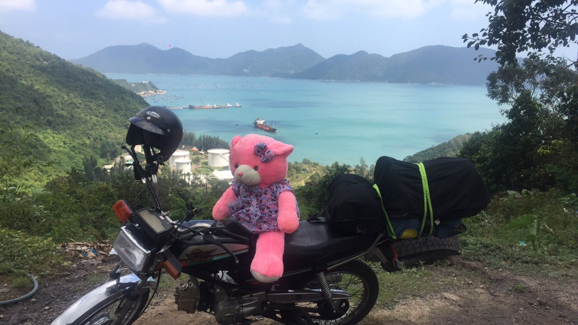 A pink bear on a motorbike and a beautiful view in Da Lat, Vietnam. Night rider and a broken bike