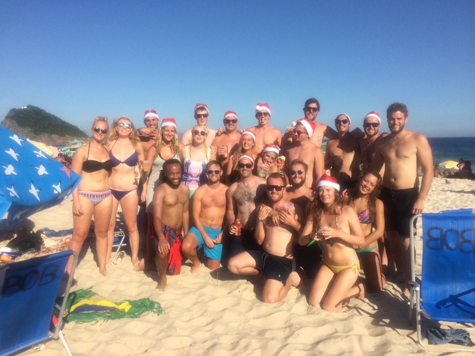 David Simpson and friends spending Christmas day at the Copacabana beach in Rio de Janeiro, Brazil. Friends, steak & Copacabana, a perfect Christmas in Rio