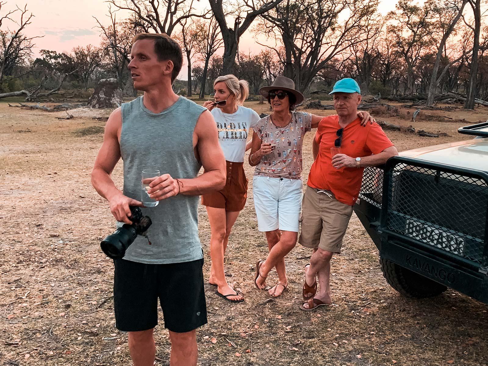 David Simpson and family in Botswana, Africa. A wild dog ambush