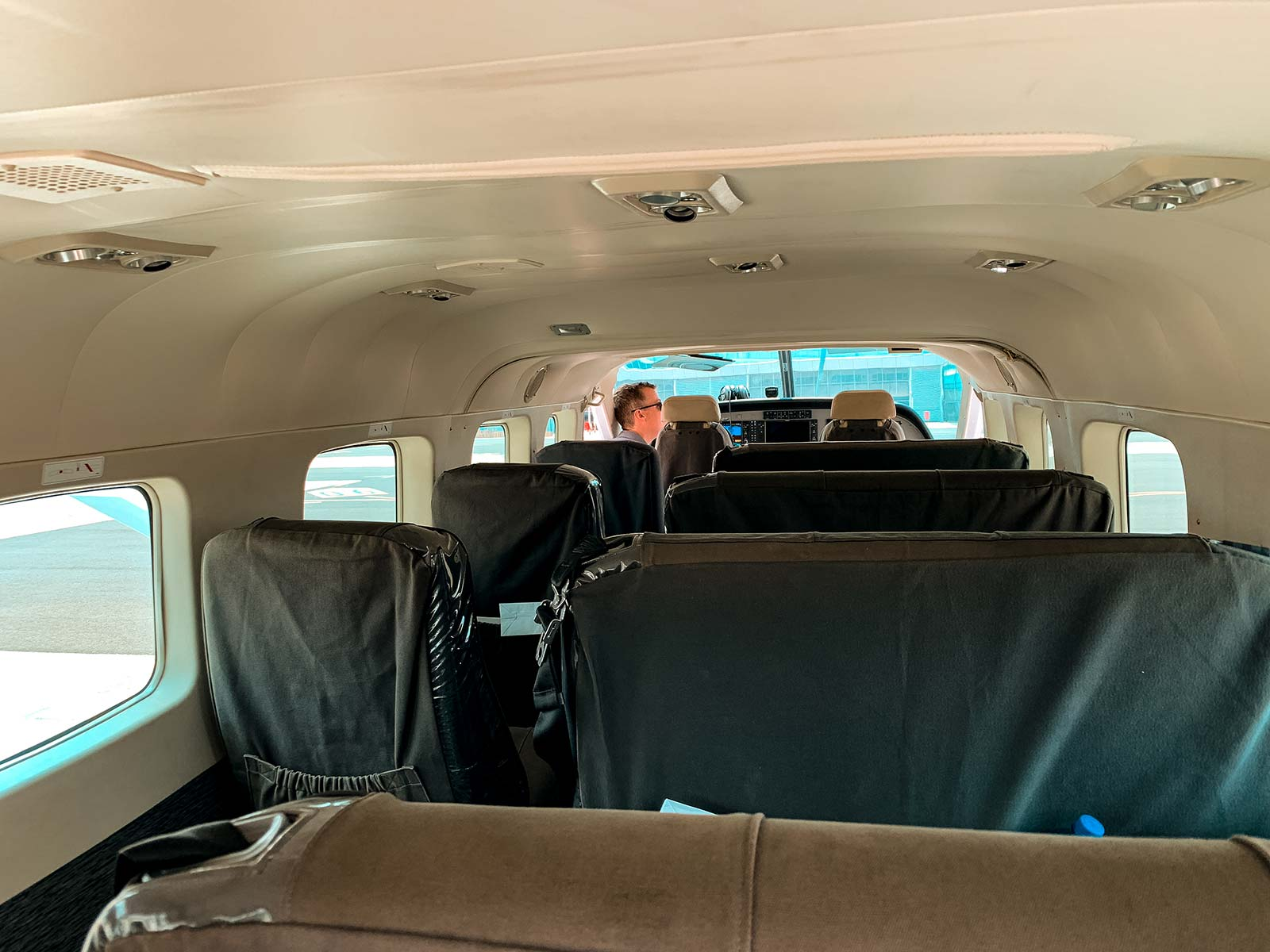Inside small plane in Botswana, Africa. Cheetah, cubs & the most incredible dinner setting
