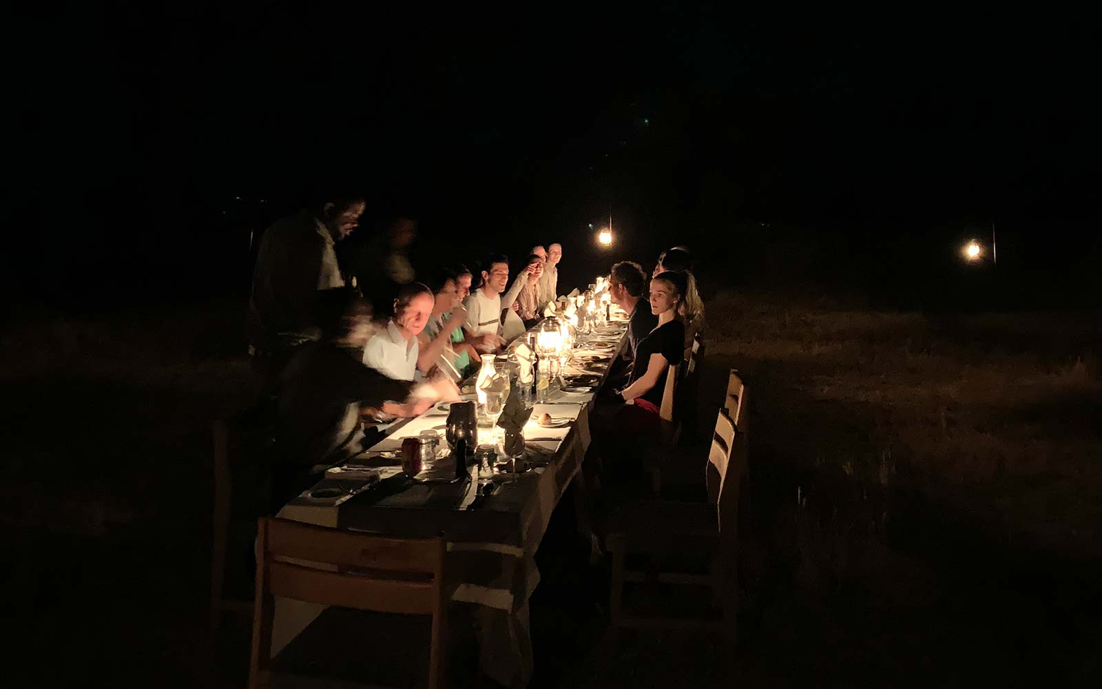 Dinner in the bush in Botswana, Africa. Cheetah, cubs & the most incredible dinner setting