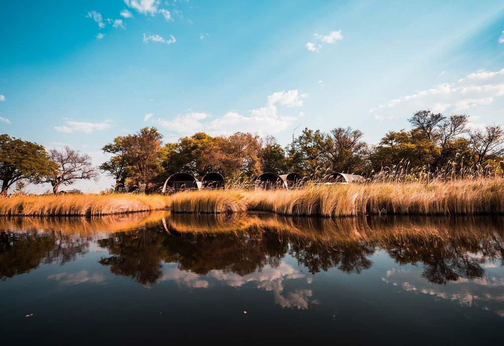 Okavango Delta in Botswana, Africa. An owl and African sunsets