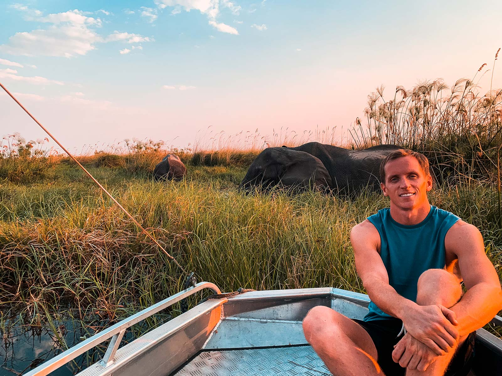 David Simpson with elephants at Okavango Delta in Botswana, Africa. An owl and African sunsets
