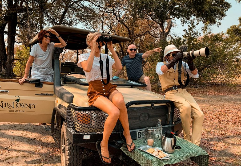 David Simpson and family in Botswana, Africa. Getting chased by a herd of elephants