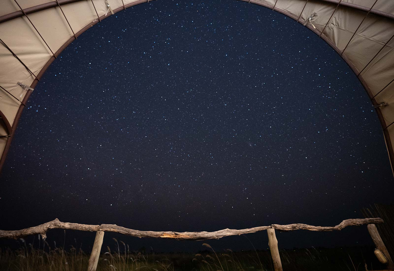 Starry night at the tent in Botswana, Africa. An owl and African sunsets