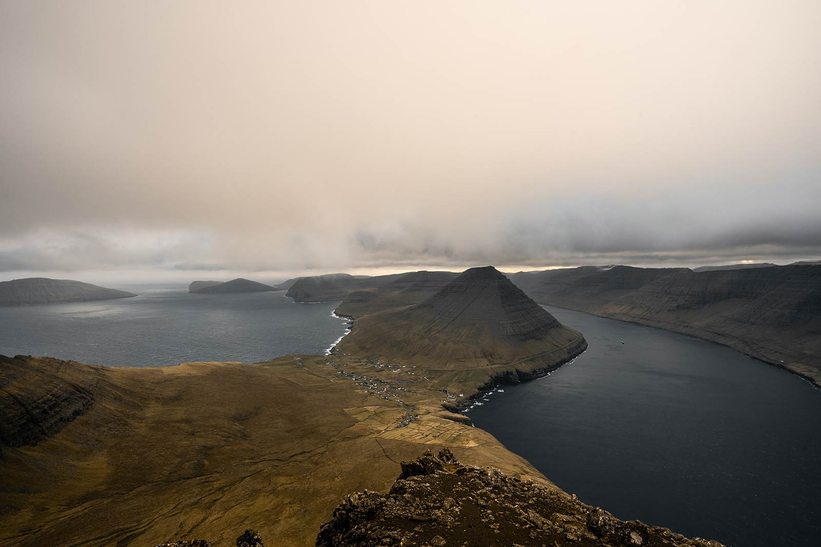 Hike to Villingdalsfjall in Faroe Islands. Getting blown off Mt Villingardalsfjall