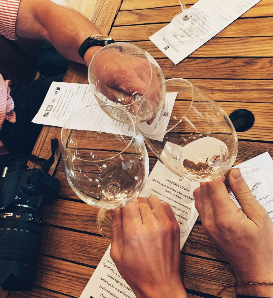 Wine tasting in Cape Town, South Africa. South Africa reflection