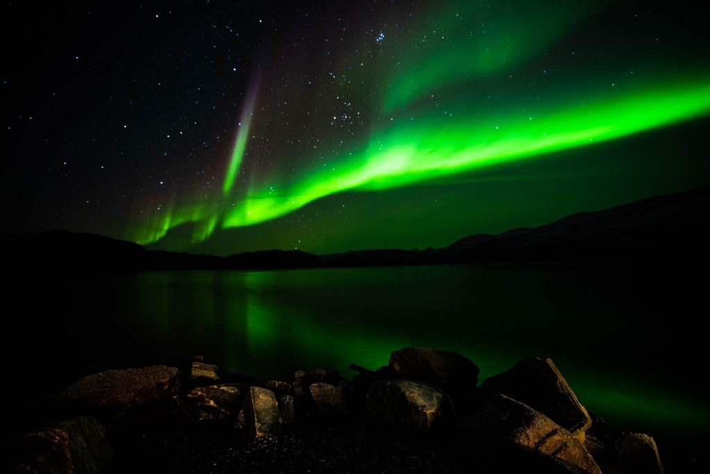 The Northern Lights in Kangerlussuaq, Greenland. Glacier, ice sheets & The Northern Lights