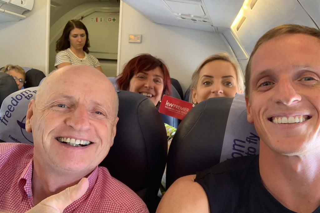 David Simpson and family on the plane to Botswana, Africa. Sh*ting next to an elephant