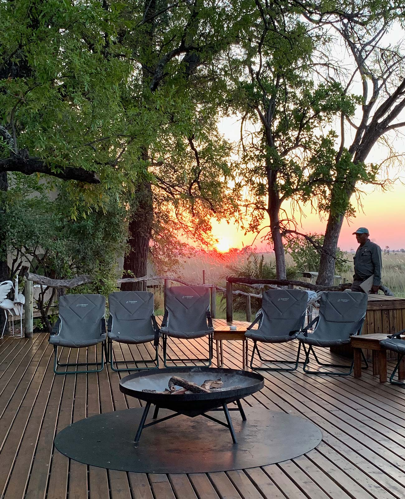 Sunset at game reserve in Botswana, Africa. Sh*ting next to an elephant