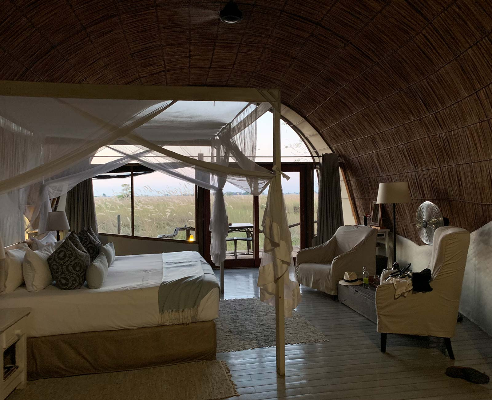 Accommodation at game reserve in Botswana, Africa. Sh*ting next to an elephant
