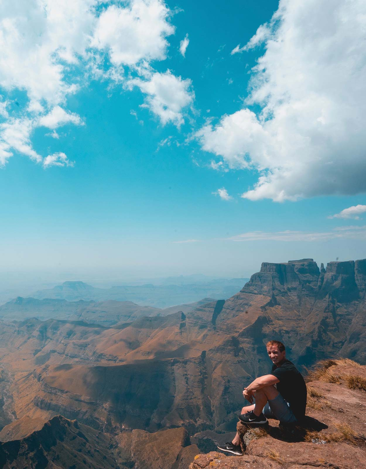 David Simpson at the Ampitheater in Lesotho, Africa. South Africa reflection