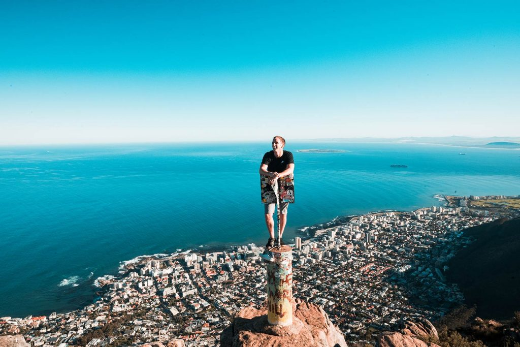 David Simpson at Lion's Head in Cape Town, South Africa. South Africa reflection