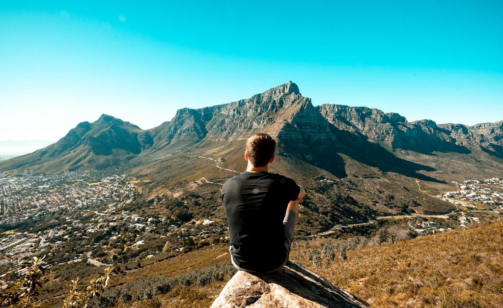 David Simpson on top of Lion's Head in Cape Town, South Africa. South Africa reflection