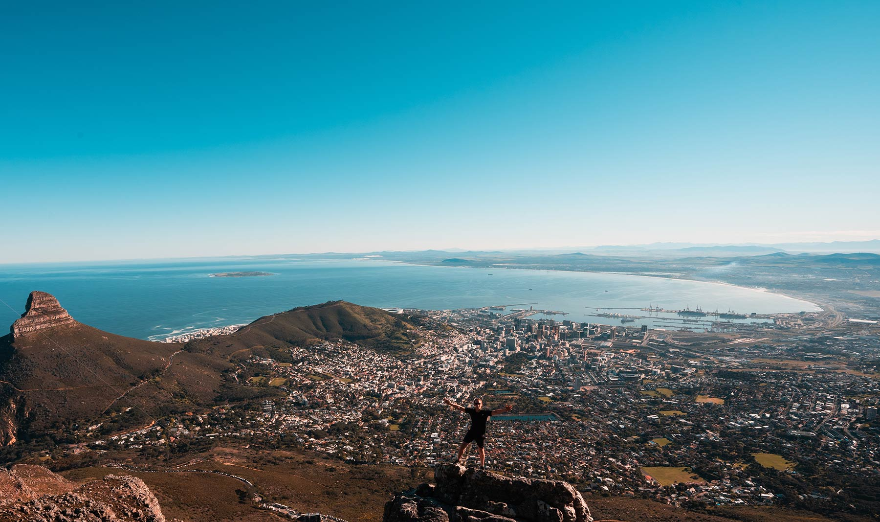 David Simpson on top of Table Mountain in Cape Town, South Africa. Hiking Table Mountain