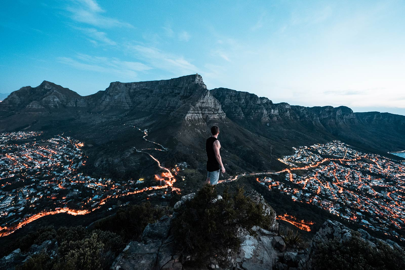 David Simpson on top of Lion's Head in Cape Town, South Africa. Running up Lion's head