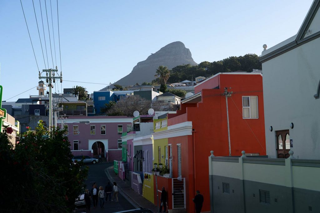 Bo-Kaap colorful houses in Cape Town, South Africa. South Africa reflection
