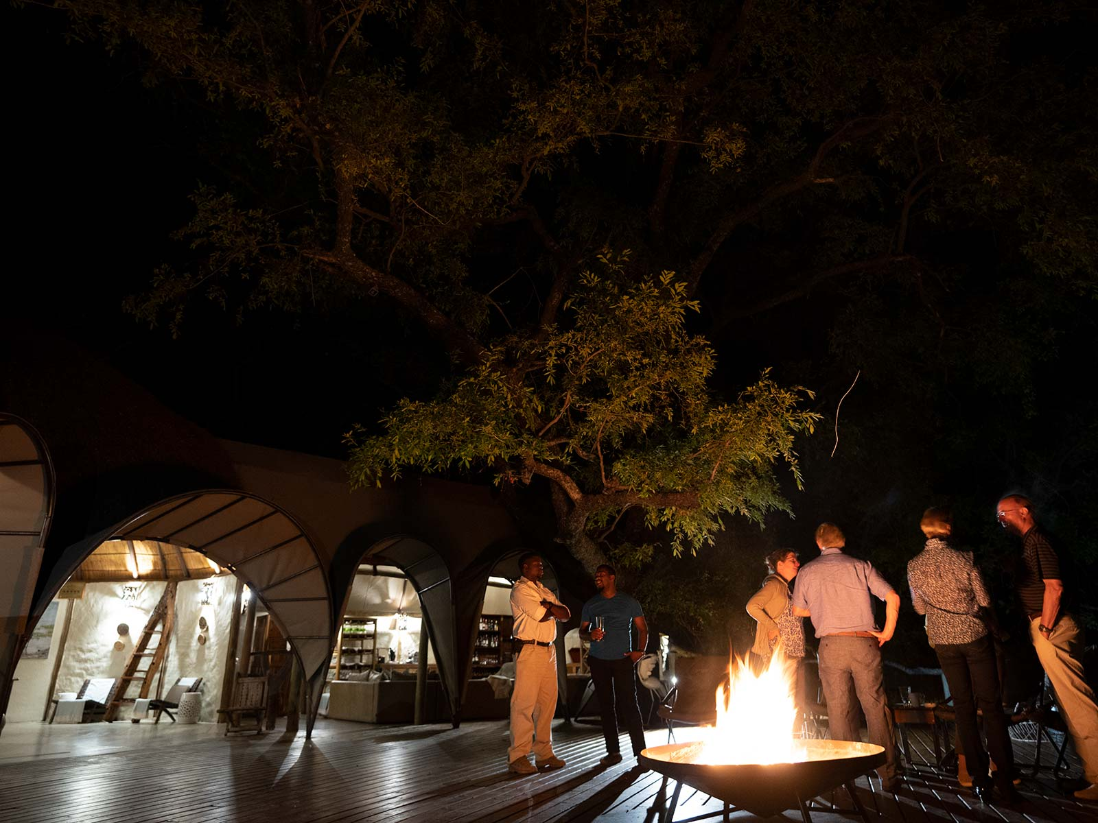 Guests by the bonfire at game reserve in Botswana, Africa. Sh*ting next to an elephant