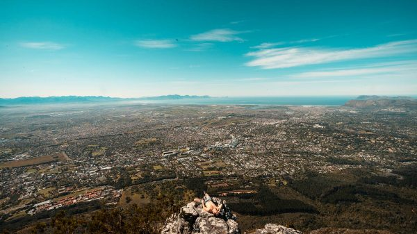 David Simpson at Devil's Peak in Cape Town, South Africa. South Africa reflection