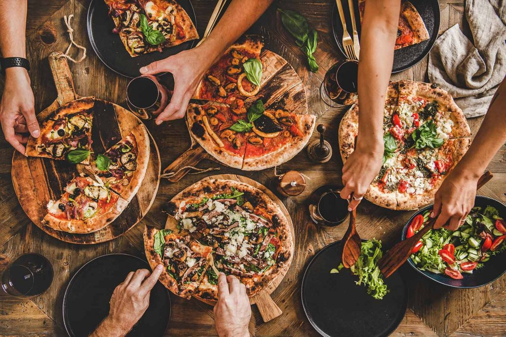 A pizza party with friends and family