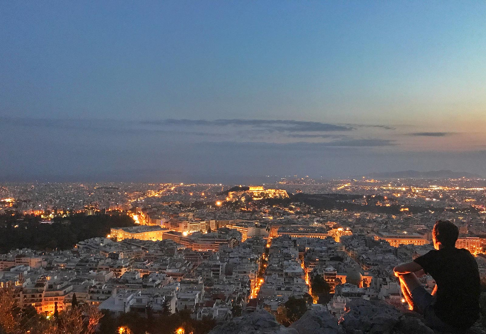 David Simpson on top of Mount Lycabettus at night in Athens, Greece. Athens has me