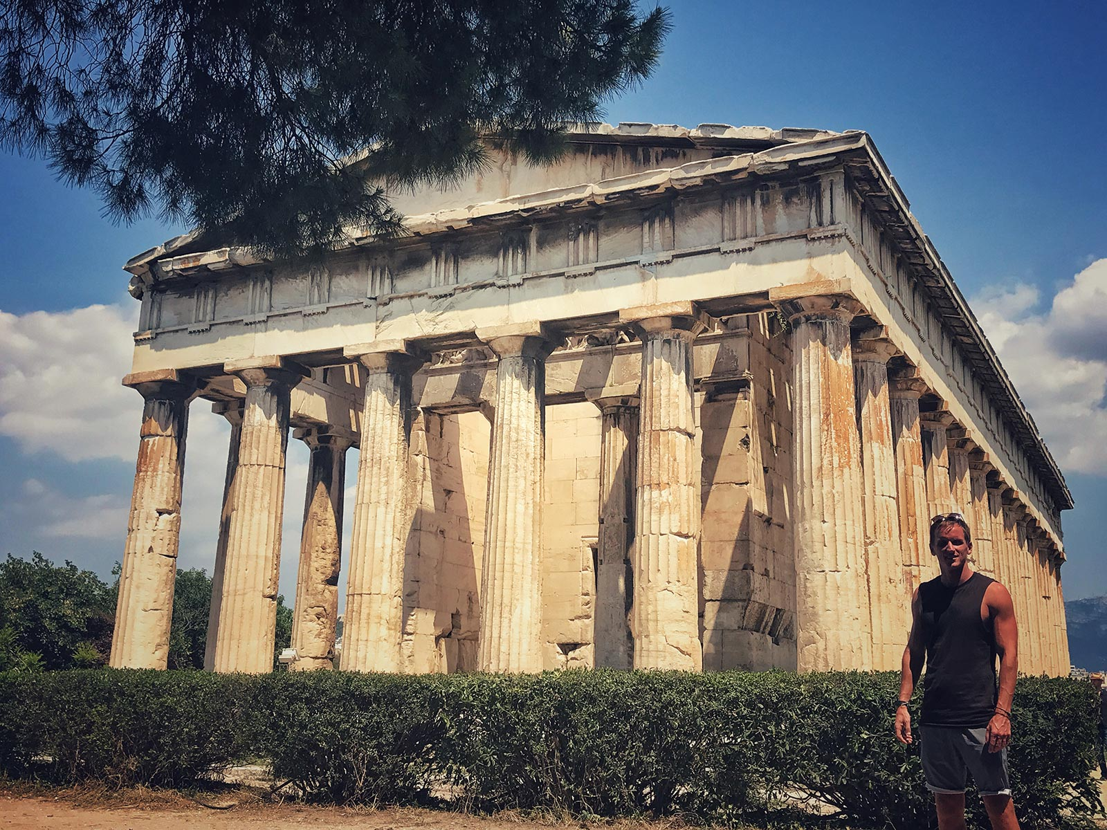 David Simpson and Temple of Hephaestus at Ancient Agora in Athens, Greece. Athens has me