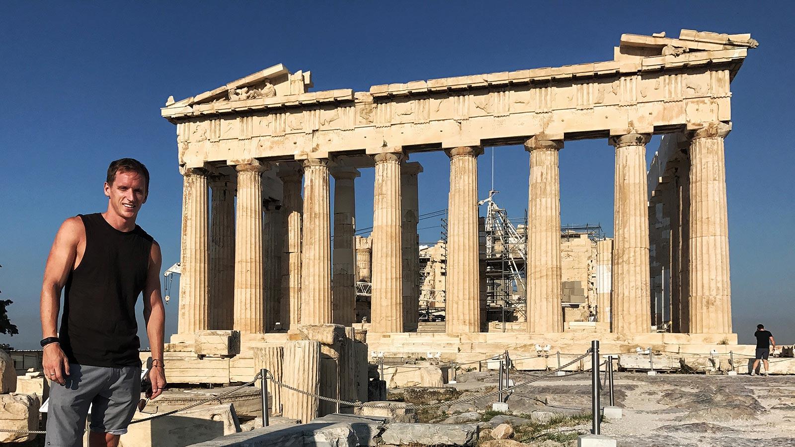 David Simpson by Parthenon at Acropolis in Athens, Greece. Athens has me
