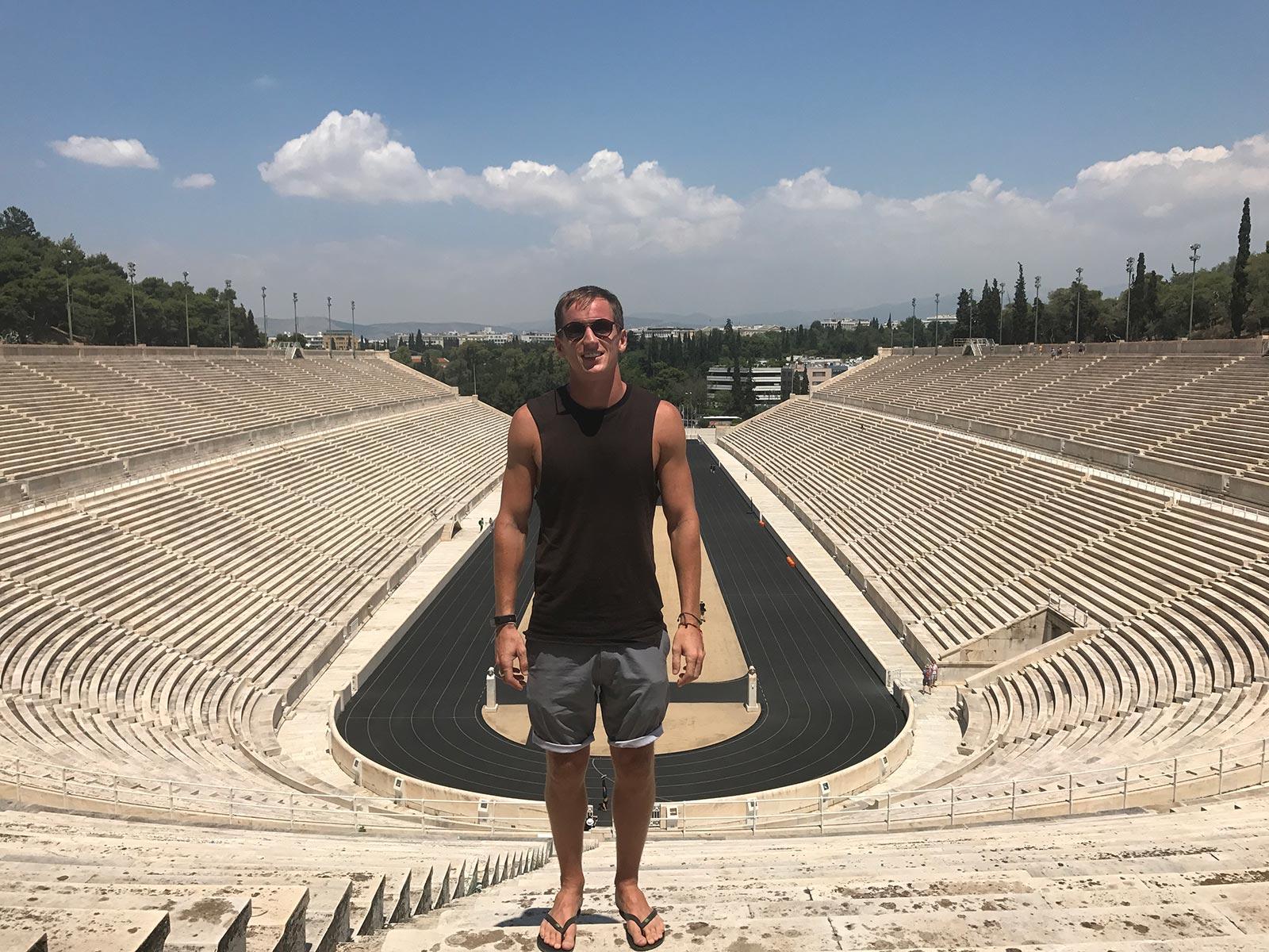 David Simpson at Panathenaic Stadium in Athens, Greece. Athens has me