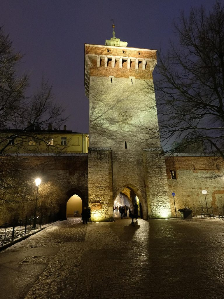 Tower at Main Square in Krakow, Poland. Cold walks and Polish food in Krakow